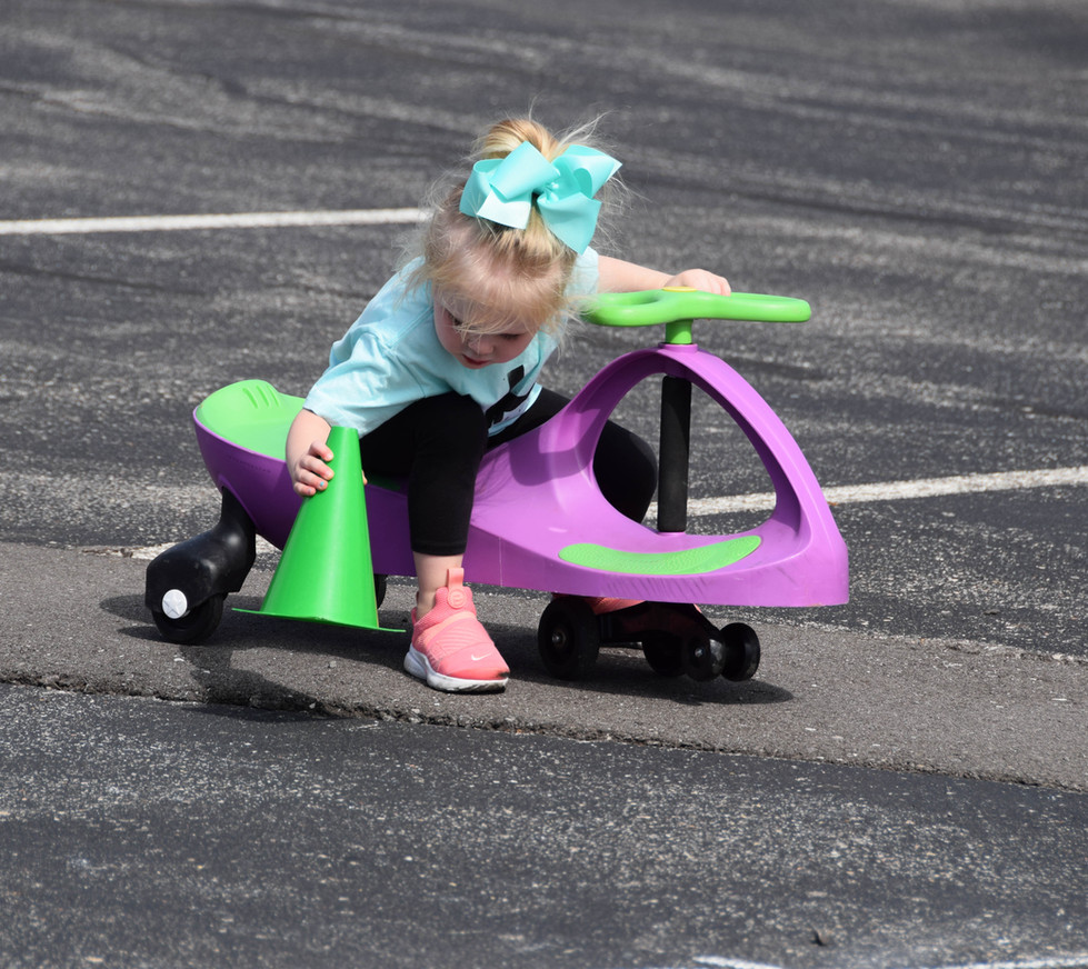Instead she patiently would wheel over to right the fallen cones.