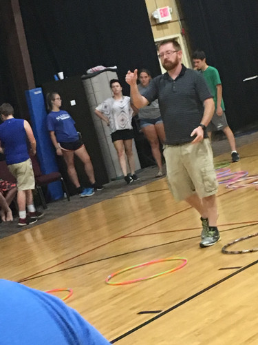Students played the Hoop Hop Challenge