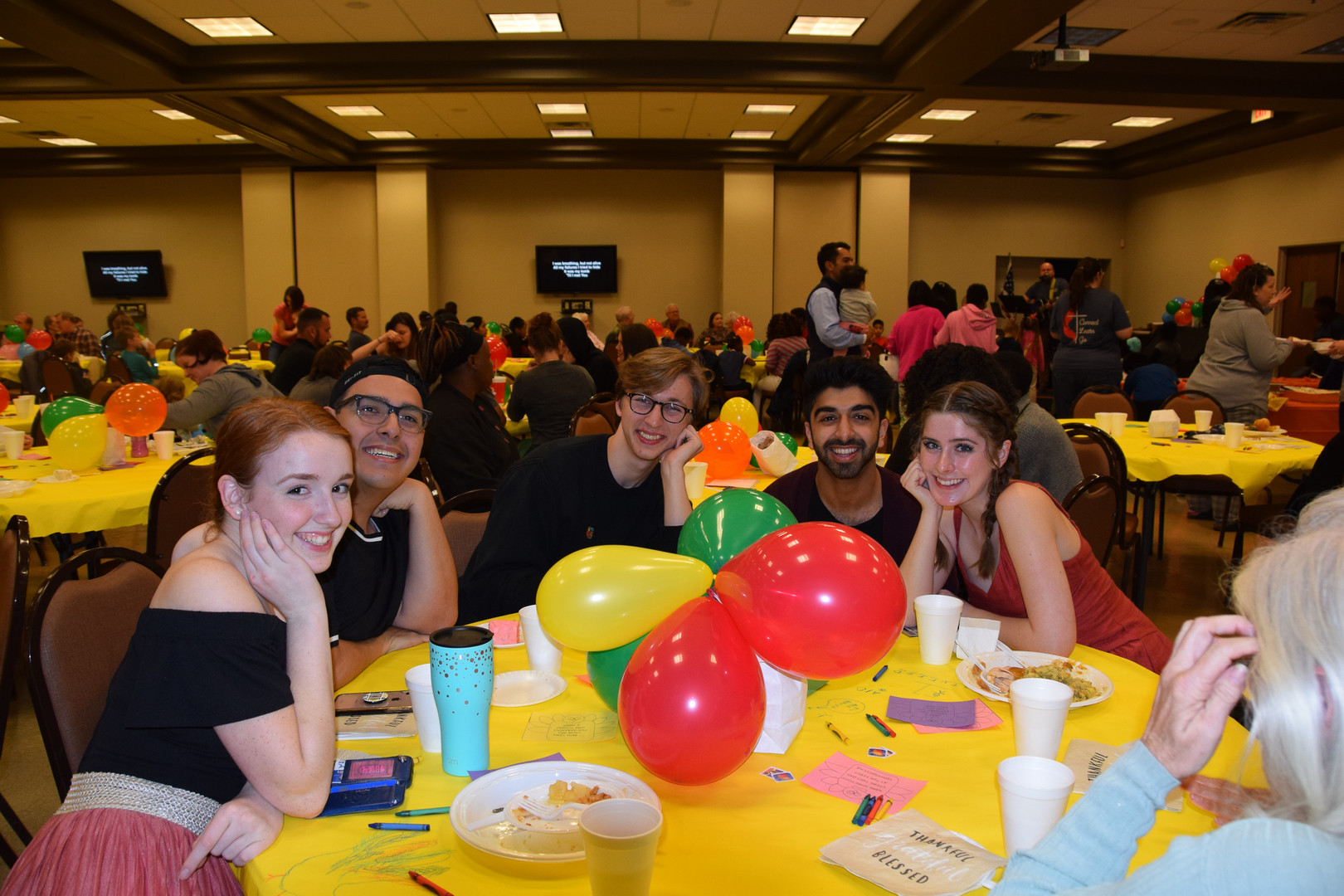 Musical chairs (and table) - members of the choir feast.
