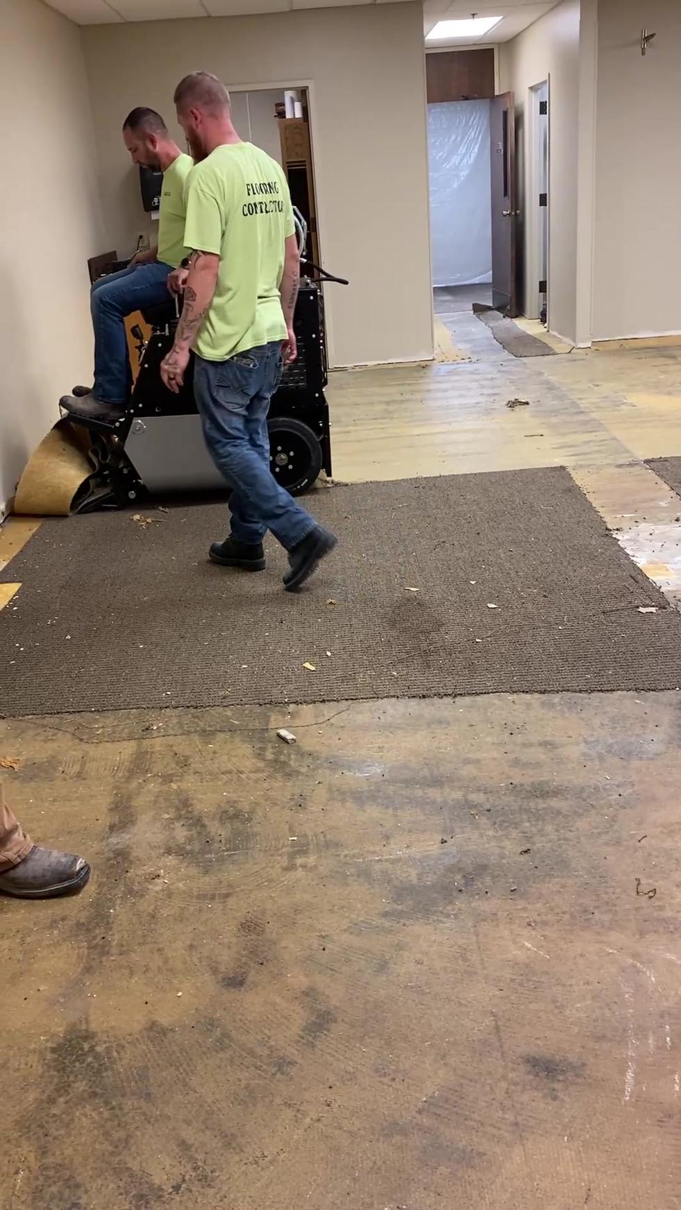 Machines make light work of removing old carpet!