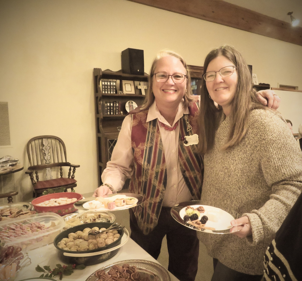 Two happy ladies! (Of course they are --- look at that spread!)