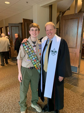 The Scouts made a special presentation to Rev. Mark Jardine.