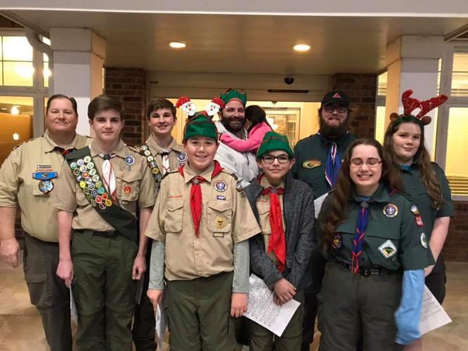 Boy Scout Troop 168 and Crew 2168 were making a joyful noise!