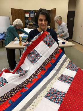 Holy Hands met to work on Quilts!