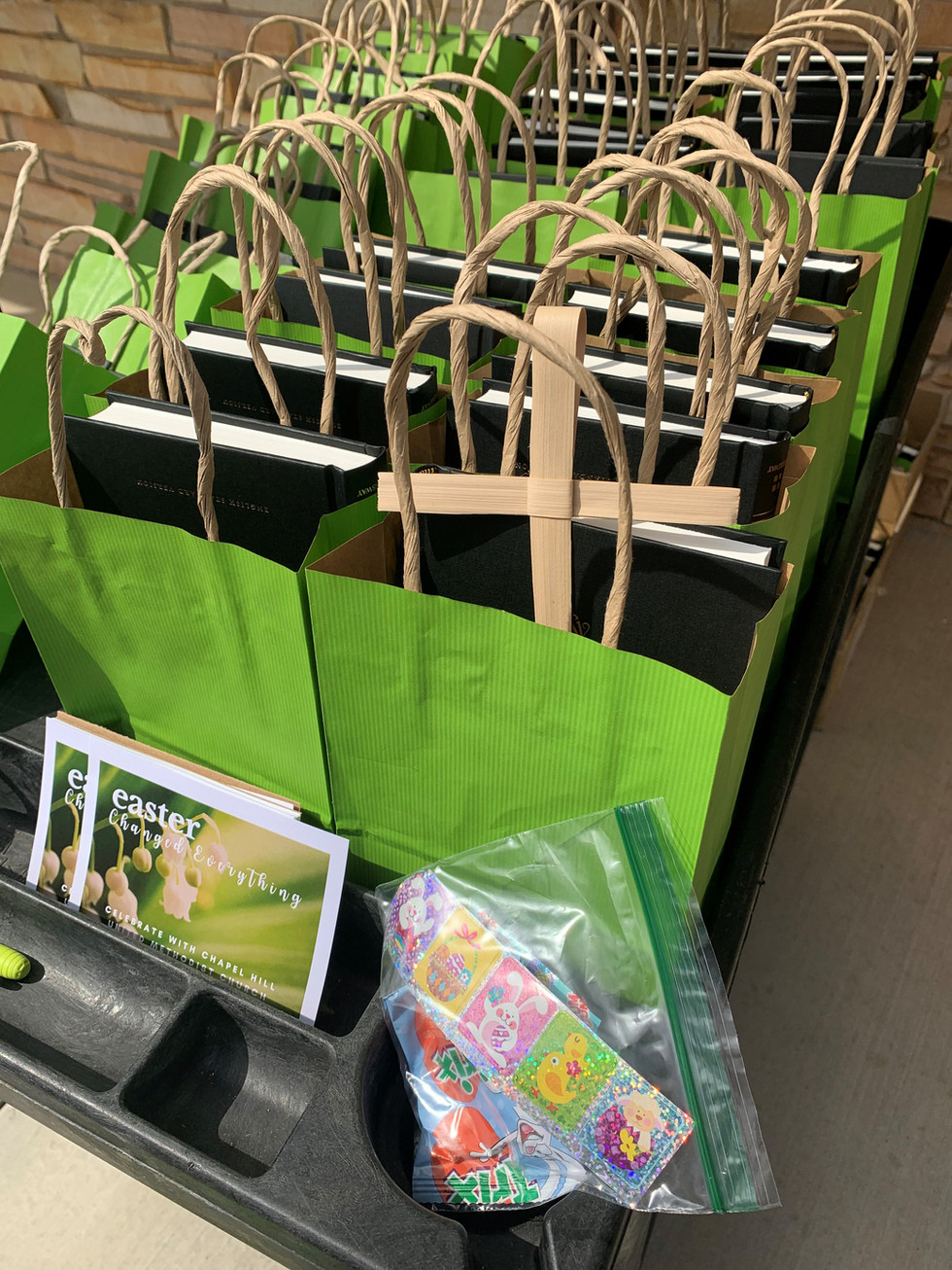Each bag had a Bible, treats, a palm cross and an invitation to Holy Week/Easter services.