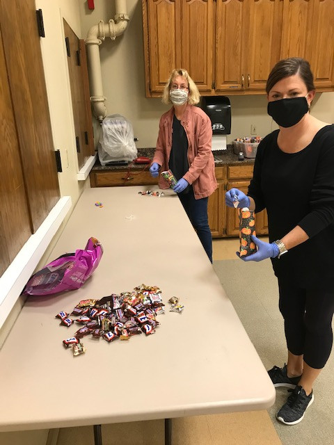 """Preparing the treats for the Candy """"Car""""avan!"""