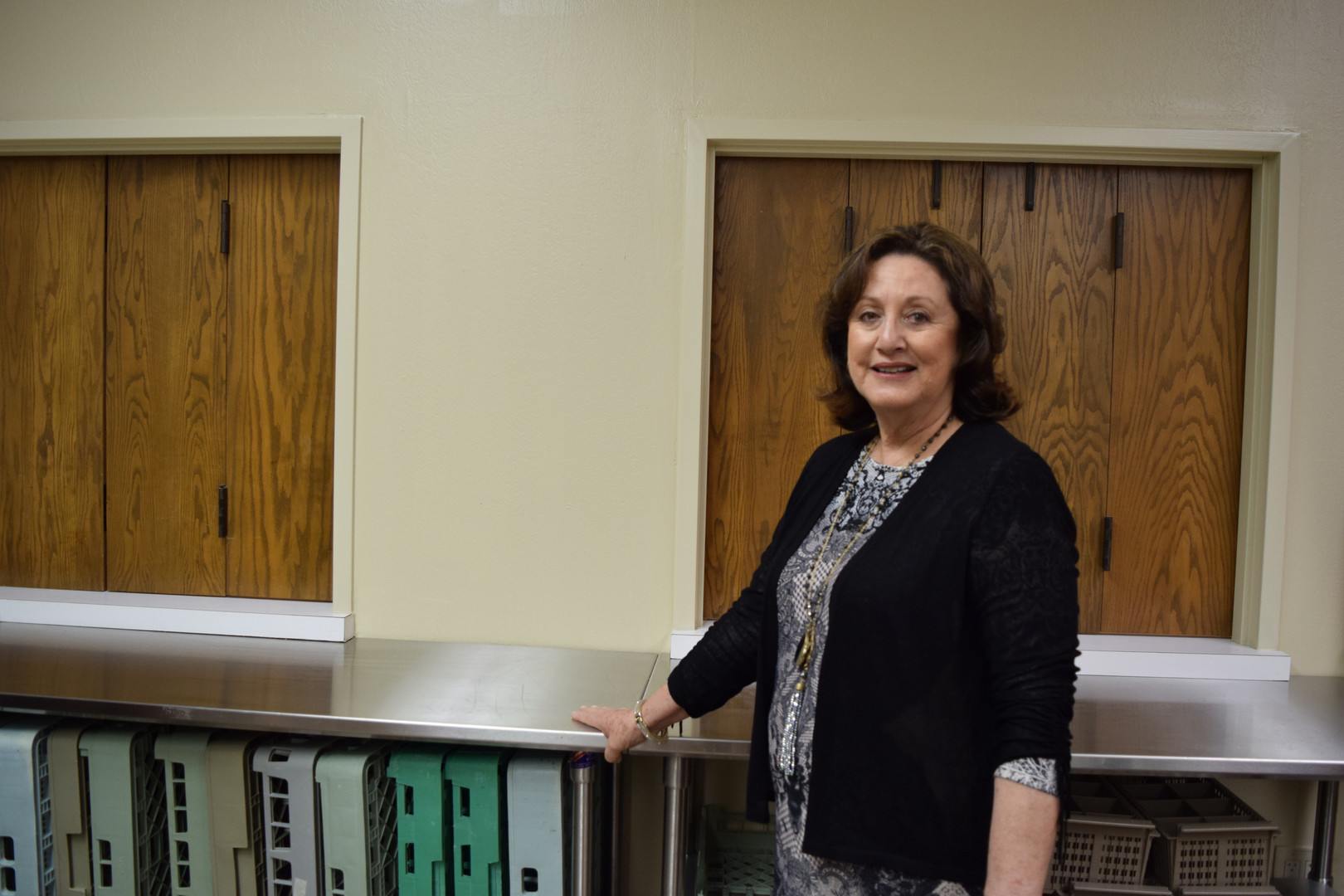Linda Wegener cleared space in the kitchen ...