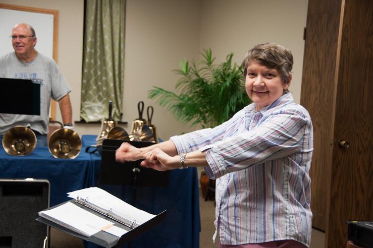 Ellen's warming up her bell wrists!