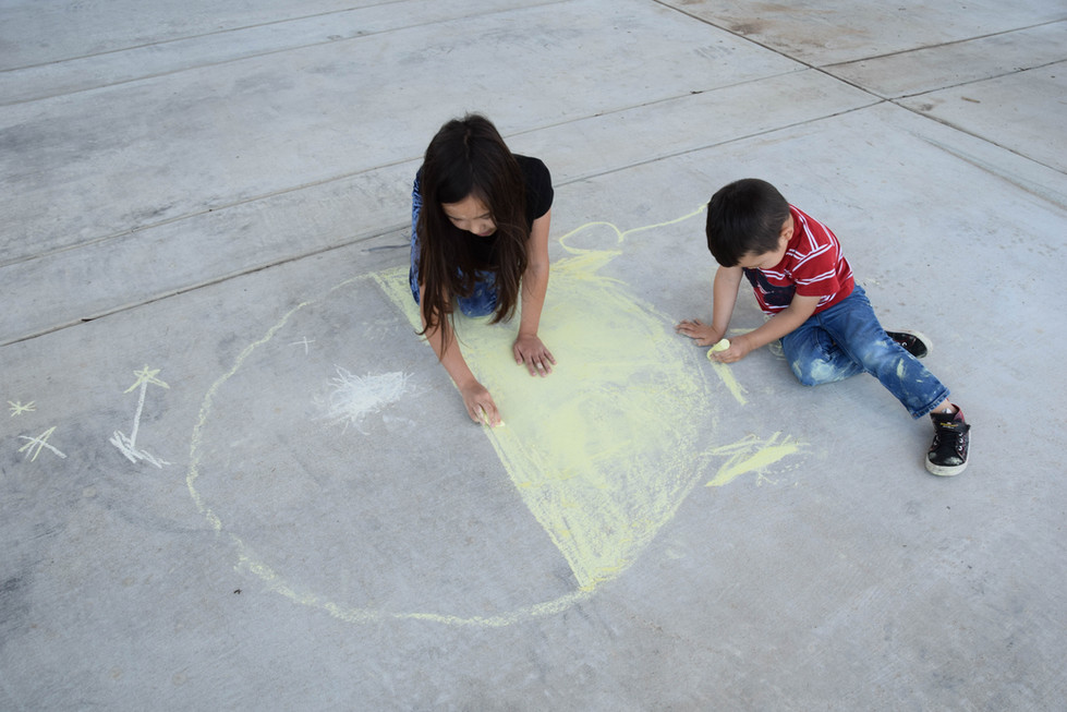 The artistic went for drawing with chalk ...