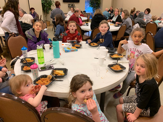 A table full of kids ...
