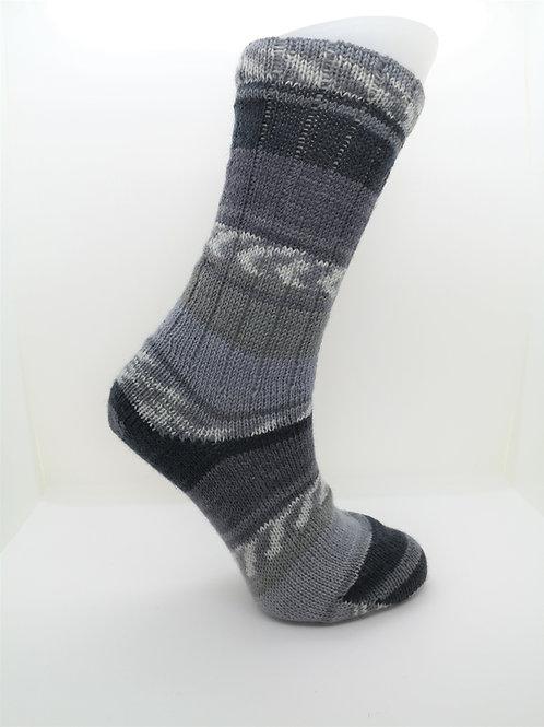 Fairisle Grey Handcranked Socks