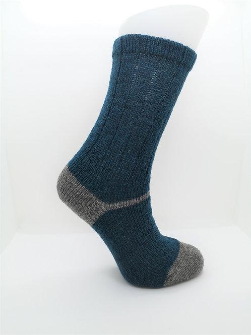 100% Pure Shetland Wool Socks - Nighthawk Blue with Grey