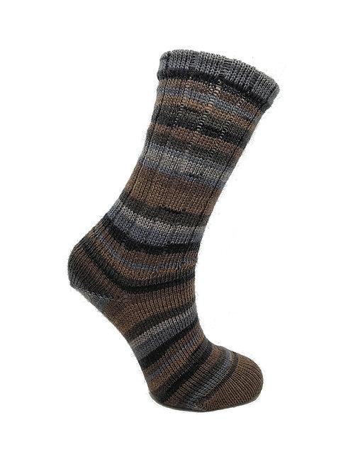 Striped Brown & Grey Handcranked Socks