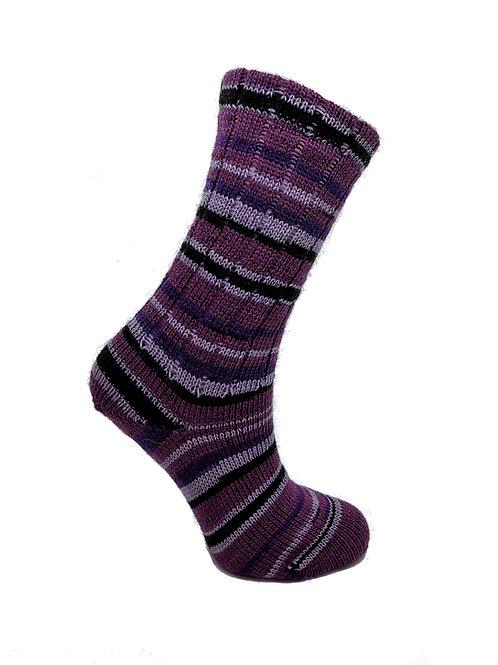 Striped Purple & Black Handcranked Socks