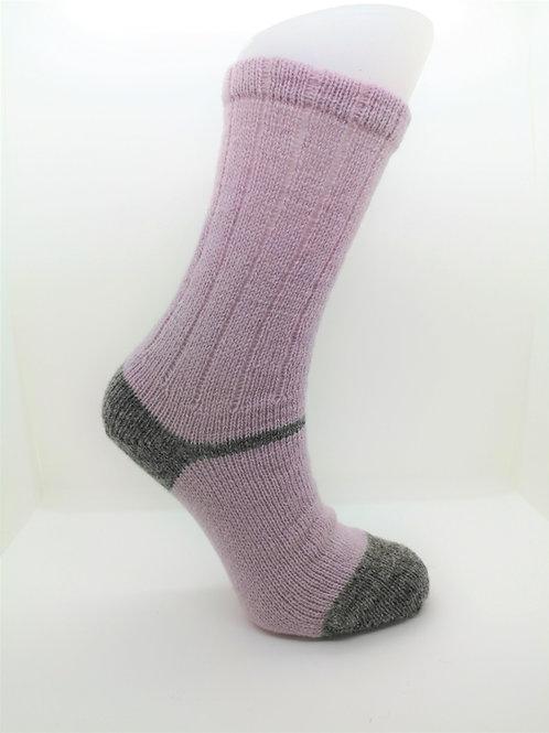 100% Pure Shetland Wool Socks - Orchid Purple with Grey
