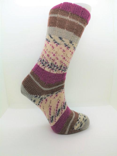 Wide Stripes Pink & Brown Handcranked Socks