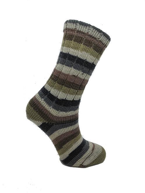Striped Brown &Tan Handcranked Socks