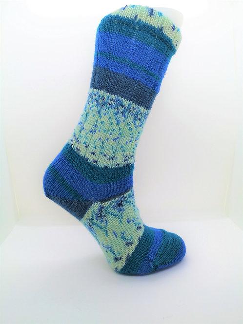 Wide Stripes Blue Handcranked Socks