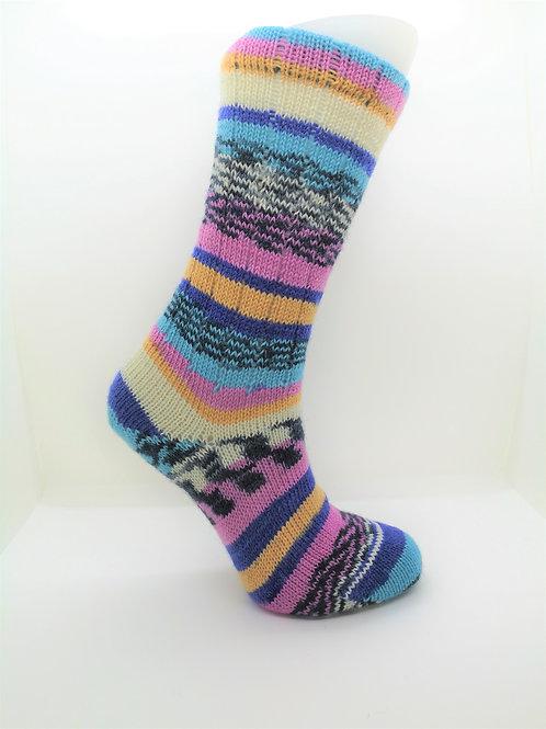 Pink & Blue Handcranked Socks