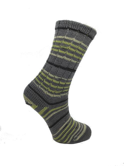 Striped Grey & Green Handcranked Socks