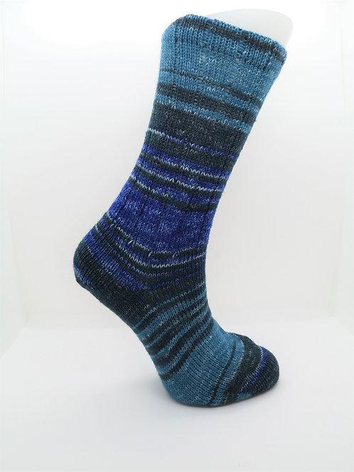 Mottled Blue Handcranked Socks