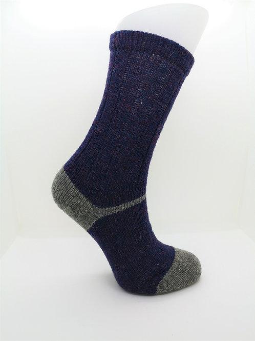 100% Pure Shetland Wool Socks - Dusk Purple with Grey
