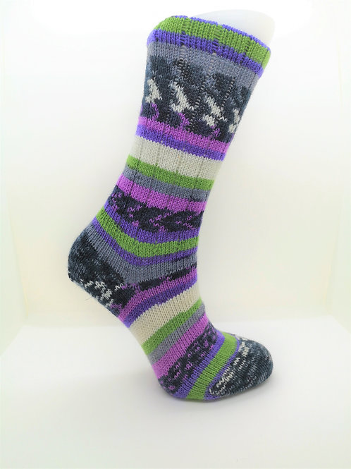 Purple & Green Handcranked Socks