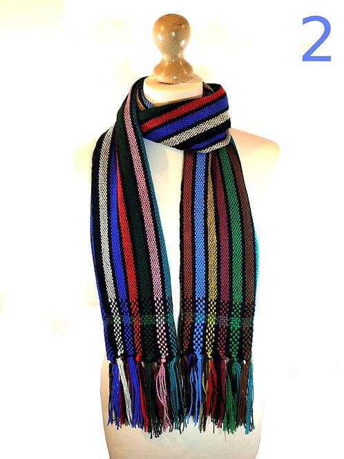 Handwoven Black Rainbow Scarves
