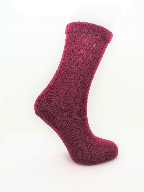 100% Pure Shetland Wool Socks - Cherry Pink
