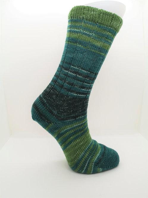 Mottled Green Handcranked Socks