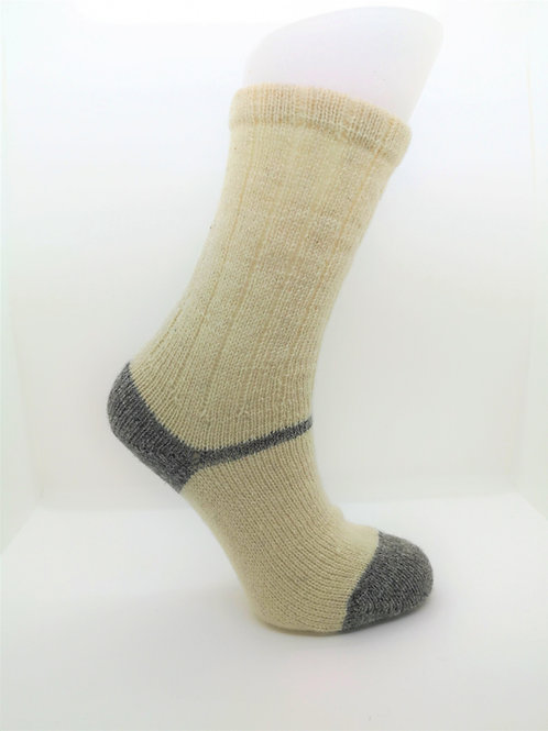 100% Pure Shetland Wool Socks - Natural White with Grey