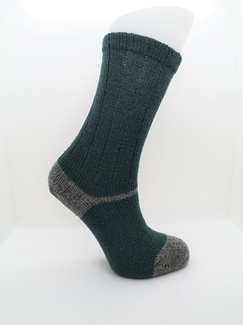 100% Pure Shetland Wool Socks - Rosemary Green with Grey