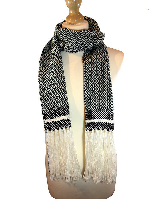 Handwoven White and Green Scarf