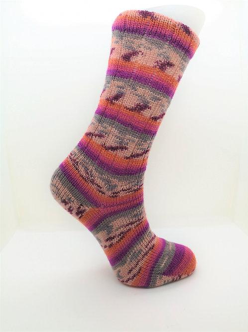 Camo Pink & Orange Handcranked Socks