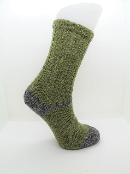 100% Pure Shetland Wool Socks - Granny Smith Green with Grey
