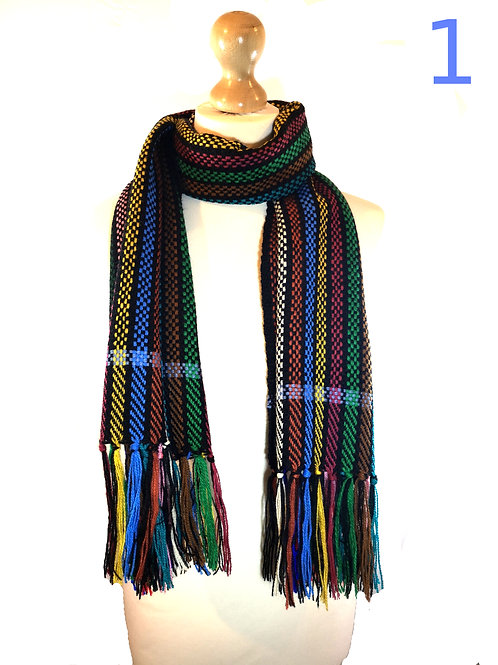 Handwoven Black Rainbow Scarves