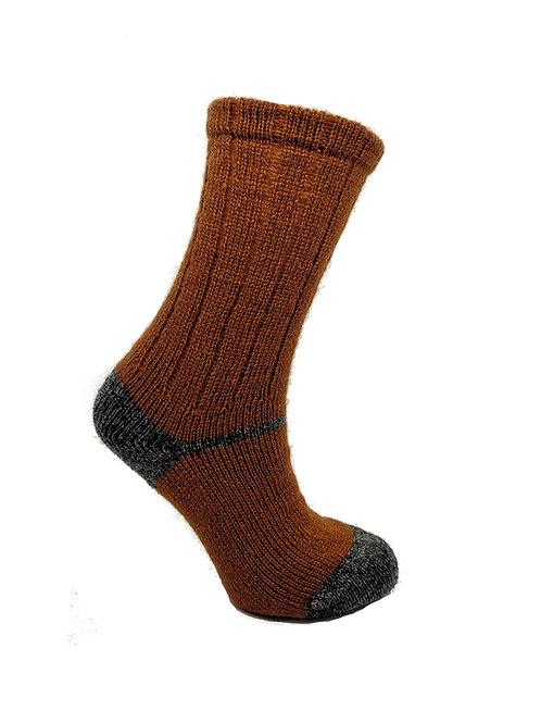 100% Pure Shetland Wool Socks - Amber Orange with Grey