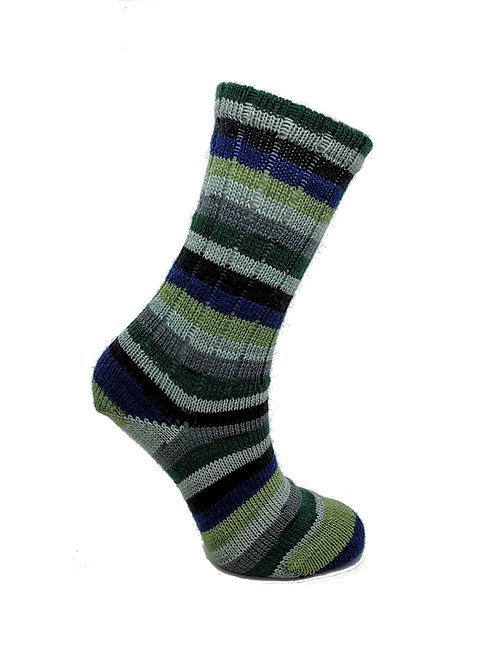 Striped Blue & Green Handcranked Socks