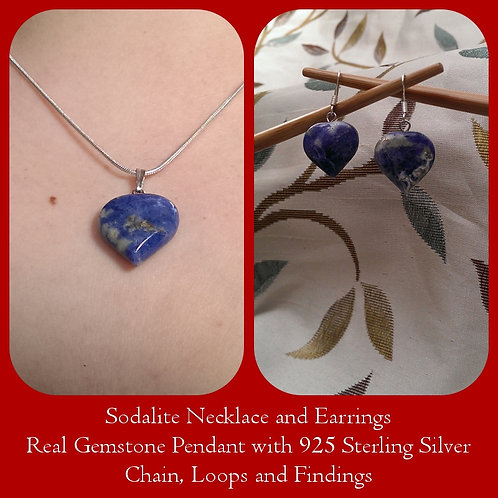 Sodalite Heart Pendant & Earrings