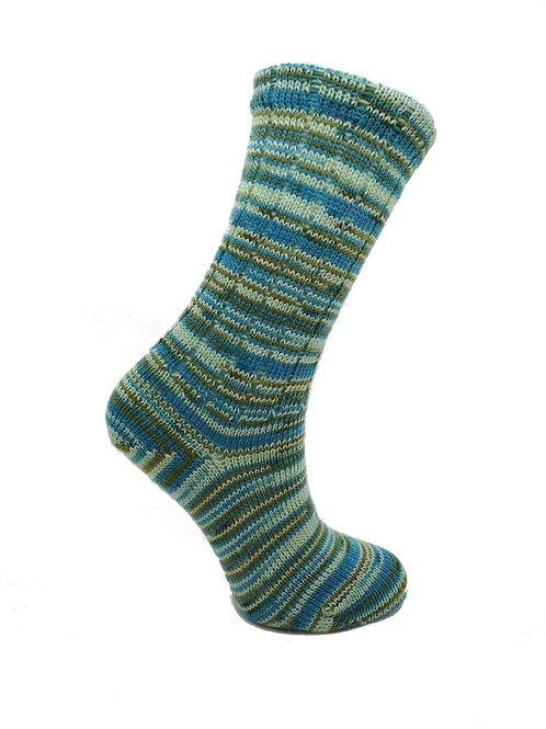 Thin Striped Green & Blue Handcranked Socks