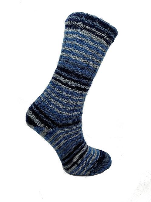 Striped Blue& Grey Handcranked Socks