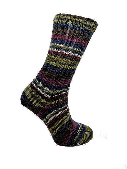 Striped Pink & Blue Handcranked Socks