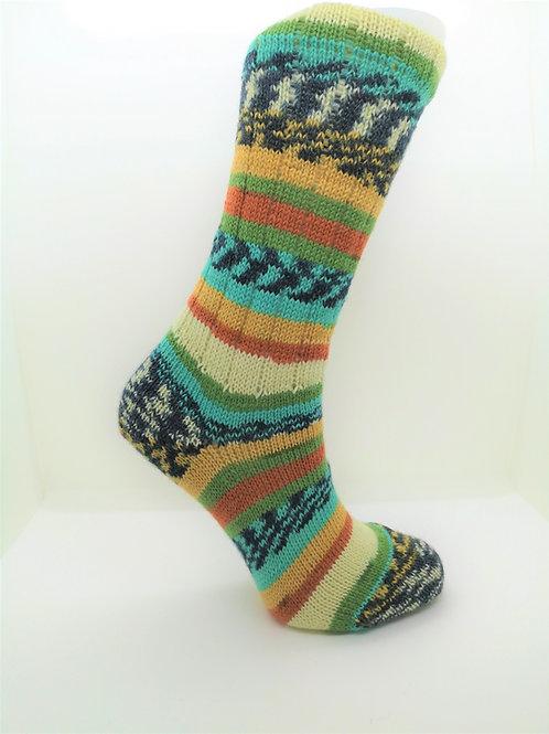 Turquoise & Orange Handcranked Socks