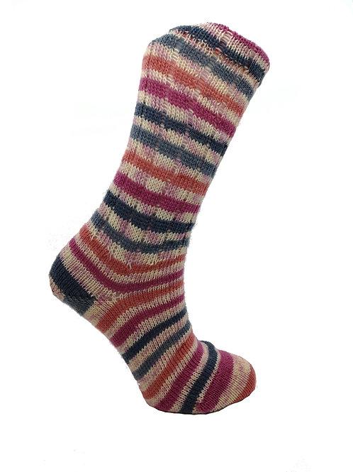 Striped Pink, Orange & Grey Handcranked Socks