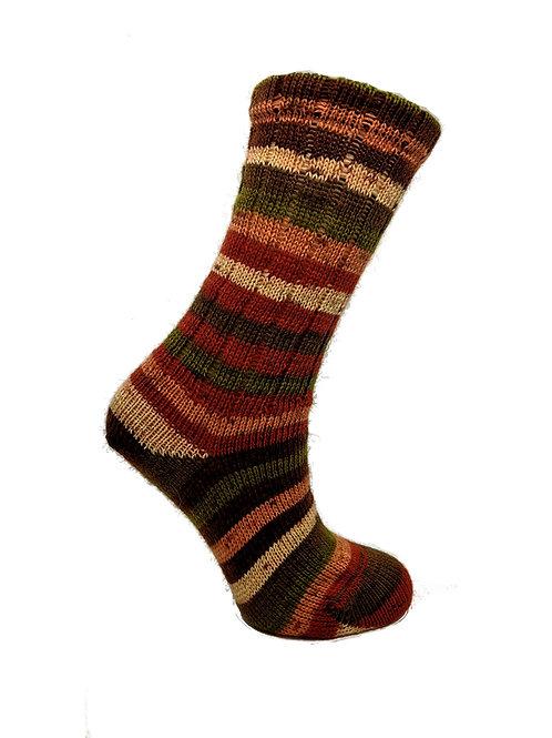 Striped Orange & Green Handcranked Socks