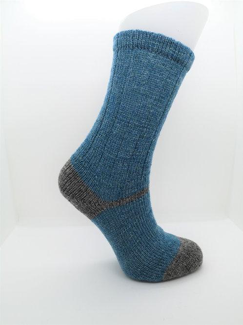 100% Pure Shetland Wool Socks - Seabright Blue with Grey