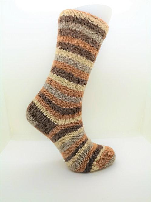Striped Brown & Orange Handcranked Socks