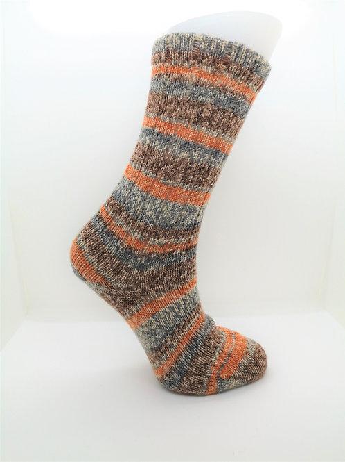 Mottled Orange Handcranked Socks