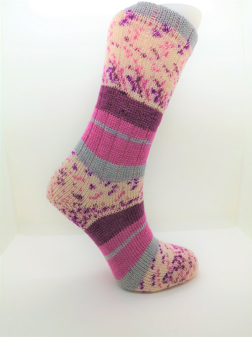 Wide Stripes Pink Handcranked Socks