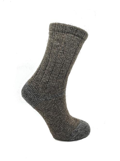 100% Pure Shetland Wool Socks - Mogit Brown with Grey